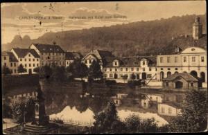 Карлсхафен, Postkarte Bad Karlshafen Weser, Hafenplatz, Hotel zum Schwan http://www.akpool.de/ansichtskarten/24218246-ansichtskarte-postkarte-bad-karlshafen-weser-hafenplatz-hotel-zum-schwan