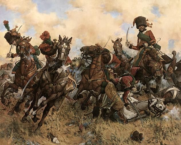 Автор: Рокко Кейт Шассеры французской императорской гвардии под командованием генерала Раппа атакуют русских лейб-гусар и артиллерийскую батарею. http://www.museum.ru/museum/1812/Painting/Common/pic1/pic003.jpg